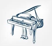 Pianot skissar linjen design royaltyfri illustrationer