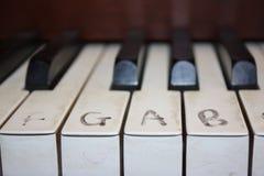 Pianotangentbord med anmärkningar royaltyfria bilder