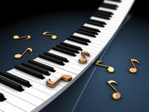 Pianotoetsenbord en nota's Royalty-vrije Stock Afbeelding