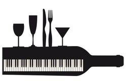 Pianotoetsenbord en partij Royalty-vrije Stock Foto's