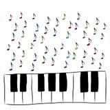 Pianotoetsenbord met gekleurde nota's, Royalty-vrije Stock Foto