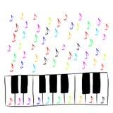 Pianotoetsenbord met gekleurde nota's, Stock Foto