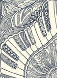 Pianotoetsenbord met zen-Verwarring ornamentzwarte op wit Royalty-vrije Stock Foto's
