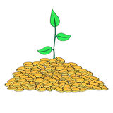 Pianta che cresce dal mucchio delle monete di oro illustrazione vettoriale