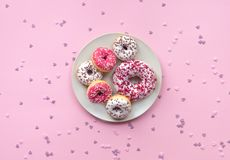 Pianta con differenti guarnizioni di gomma piuma su fondo rosa fotografia stock libera da diritti