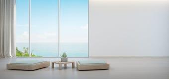 Pianta d'appartamento sul tavolino da salotto di legno e sulla mobilia minima con il fondo bianco vuoto della parete, salotto nel illustrazione vettoriale