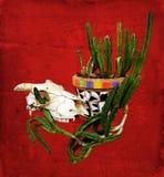 Pianta da vaso del cactus del mosaico del messicano e del cranio Immagini Stock