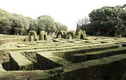 Pianta del labirinto a Parc del Laberint de Horta a Barcellona Fotografia Stock Libera da Diritti