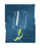 Pianta del semenzale protettiva con un vetro illustrazione di stock