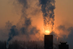 Pianta del vapore in inverno d'Alasca Fotografia Stock Libera da Diritti