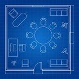 Pianta dell'ufficio con i simboli lineari di vettore illustrazione di stock