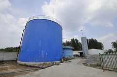Pianta di ingegneria del biogas Fotografia Stock
