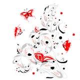 Pianta di lanciatore di vettore con le farfalle illustrazione vettoriale
