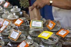 Pianta di Muña ed altri barattoli con le erbe medicinali secche fotografie stock