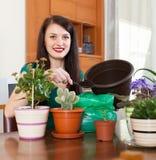 Pianta di trapianto dei fiori della donna in vaso da fiori Fotografia Stock Libera da Diritti