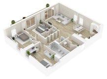 Pianta di una vista superiore della casa Apra la disposizione vivente dell'appartamento di concetto royalty illustrazione gratis