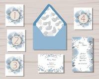 Pianta e modelli floreali di nozze grigi e blu Fotografia Stock