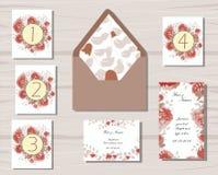 Pianta e rosso e begie floreali dei modelli di nozze Fotografia Stock Libera da Diritti
