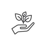 Pianta, germoglio in un'icona della lenza a mano, segno di vettore del profilo, pittogramma lineare di stile isolato su bianco Fotografia Stock