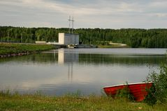 Pianta idroelettrica di Vanttauskoski in Finlandia Fotografie Stock