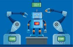 Pianta per la produzione dei robot con gli artigli dal tabellone segnapunti sulla cima illustrazione vettoriale