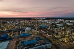 Pianta petrochimica della raffineria di petrolio, vista superiore fotografie stock libere da diritti