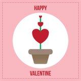 Pianta rossa del cuore in vaso da fiori Fotografia Stock Libera da Diritti