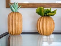 Pianta succulente o pianta del cactus in vaso di legno sulla tavola di vetro fotografia stock