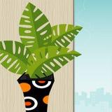 Pianta tropicale Retro-Stilizzata illustrazione di stock