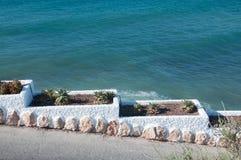 Piantatura i vasi e dell'acqua dell'oceano. Fotografia Stock Libera da Diritti