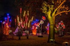 Piante artificiali e fiori del bambù gigante decorati con le luci Fotografia Stock Libera da Diritti