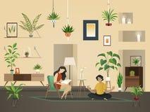 Piante a casa dell'interno Giardino urbano con la piantatura verde e la gente nell'illustrazione interna di vettore della sala royalty illustrazione gratis