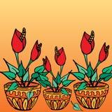 Piante da vaso con i fiori rossi Fotografia Stock
