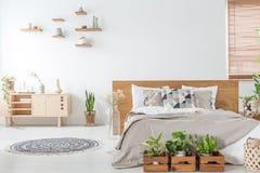Piante davanti al letto di legno nell'interno bianco della camera da letto con la coperta vicino all'armadietto Foto reale fotografia stock