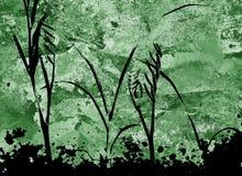 Piante della siluetta sul fondo di verde di lerciume Fotografie Stock