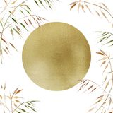 Piante dorate dell'acquerello di autunno e del cerchio su fondo bianco Whith dell'insegna di pubblicità di promo uno spazio per t royalty illustrazione gratis