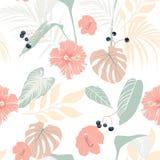 Piante tropicali ed ibisco pastello Modello tropicale senza cuciture, fondo illustrazione di stock