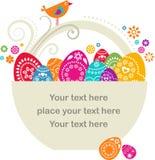 复活节篮子用pianted鸡蛋 免版税库存照片