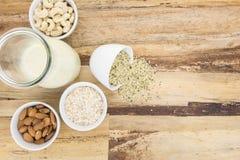 Pianti il latte basato ed e le ciotole con gli ingredienti immagini stock