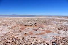 Pianure del sale con il lago nel Cile Fotografie Stock