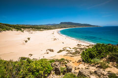 Piasek diuna Bolonia plaża, gubernialny Cadiz, Andalucia, Hiszpania Zdjęcia Stock