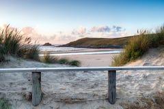 Piasek diuny przy Crantock plażą obraz royalty free