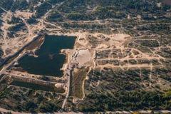 Piasek jama, staw, widok od above Antena krajobraz n Obraz Royalty Free