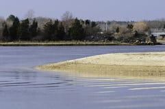 Piasek mierzei Mattapoisett rzeka Fotografia Royalty Free