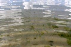 Piasek na plaży pod wodą, opustoszały plażowy jezioro, lato, światło słoneczne na piasku zdjęcie royalty free