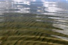 Piasek na plaży pod wodą, opustoszały plażowy jezioro, lato, światło słoneczne na piasku obrazy royalty free