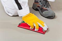 Piasek papierowy czyścić cementowego substrat Fotografia Stock