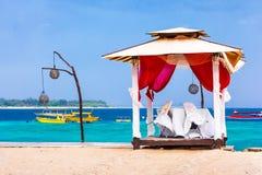 Piasek plaża Gil Trawangan, Indonezja zdjęcia stock