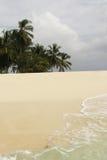Piasek plaża z drzewkami palmowymi w tle Zdjęcie Stock