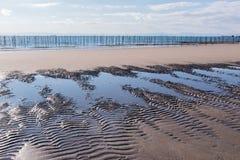 Piasek powierzchnia na plaży z morzem obrazy royalty free